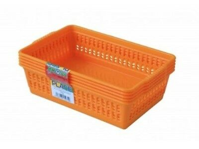 Yellow 5 Small Plastic Handy Fruit Vegetable Basket Kitchen Officce