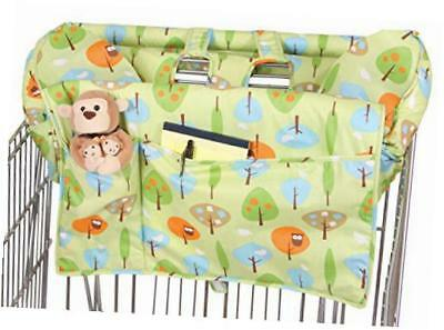 prop 'r shopper body fit shopping cart cover, green forest frolics
