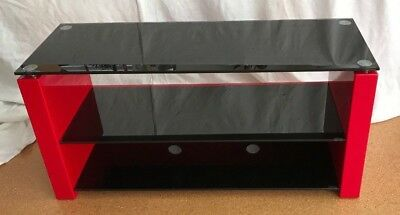 TECHLINK Red Gloss & Black Glass Bench TV Stand