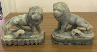 Antique Marble Pair of Lion Bookends Statue