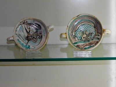 A PAIR OF MAJOLICA BOWLS, 14th. C.