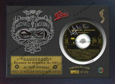 "Michael Jackson SIGNED FRAMED PHOTO AND ""DANGEROUS"" CD Disk Presentation Display"