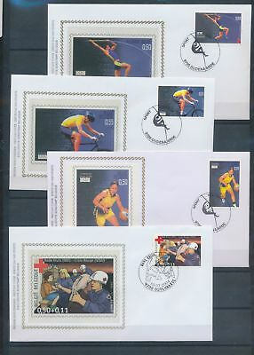 XA78528 Belgium 2004 redc ross Athens olympic games silk on FDC used