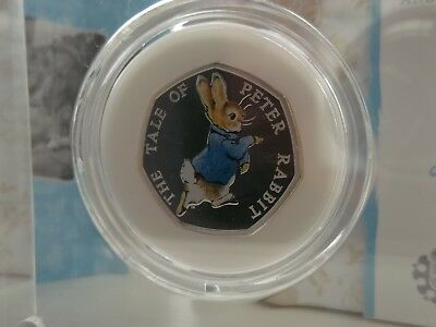 2017 Peter Rabbit Silver Proof Coloured 50p Coin Beatrix Potter Royal Mint