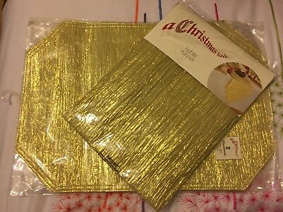 Gold Christmas Table Runner And Mats