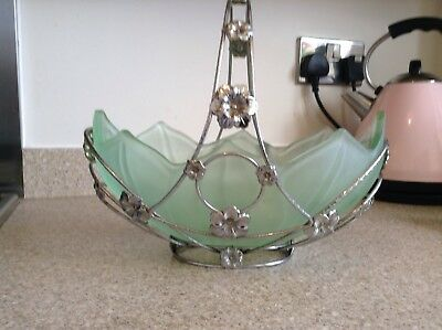 Lovely frosted green glass fruit bowl in chrome stand. Probably Bagley.