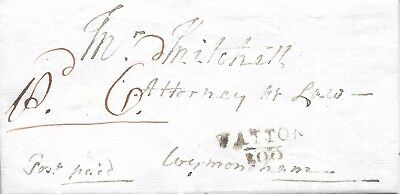 Pre-Stamp Cover with Letter. Watton to Wymondham. 29/04/1814.