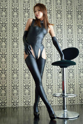 sexy Fetish pvc wet look faux leather body suit  gloves leggings stockings uk 8