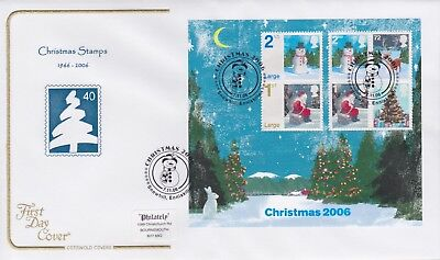 Gb Stamps Mini Sheet First Day Cover 2006 Xmas Snowhill Cotswold Collection