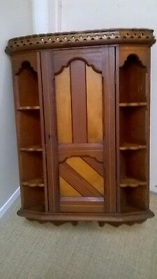 Antique 19thC Victorian  WOOD Hanging CORNER CABINET