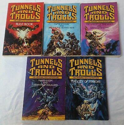 Vintage D&D - Tunnels and Trolls, 5 books, Pub by Corgi, 1986.