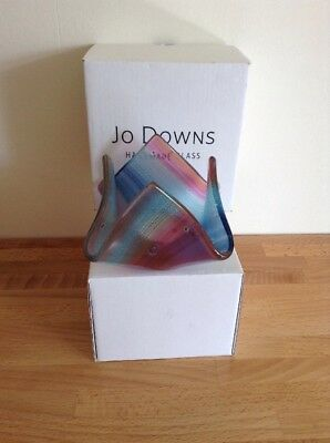 Beautiful Jo Downs Handmade Glass Tea Light Holder. Unused In Box .