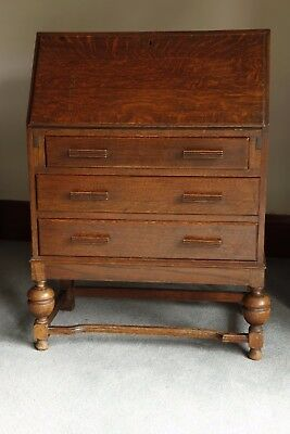 Antique Writing Bureau. Vintage furniture desk drawers wooden solid