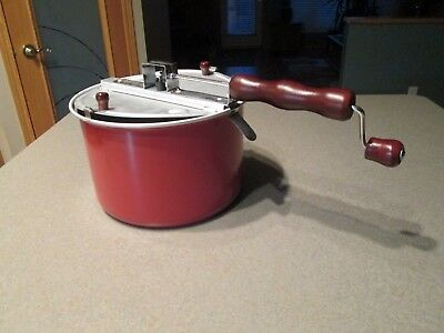 VINTAGE ALUMINUM POT, POPCORN POPPER with  WOOD HANDLE