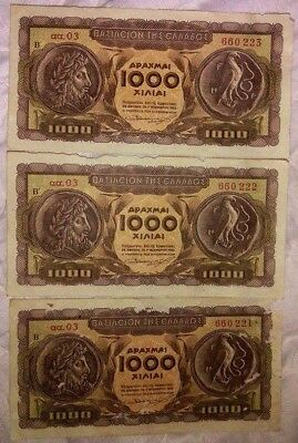 Greece Greek lot of 3 banknotes consecutive number 1000 Drachmai Drachma 1953!