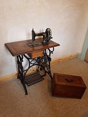 Antique Gritzner treadle sewing machine with table, made in Durlach, Germany