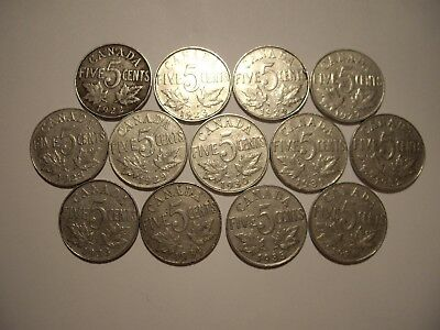 A Canada George V 1922 - 1936 Five Cents - Lot of 13 Coins