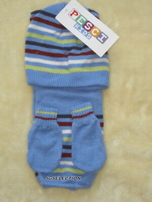 Baby Boys Hat-Mittens-Scarf Set - 12/24 Months - Pale Blue & Stripes - New