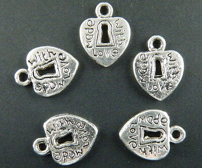 "30pcs Tibetan Silver Heart ""made with love"" Charms 12.5x9.5mm 5021"