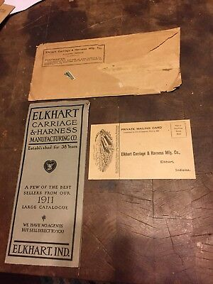 Old Vintage 1911 Elkhart Carriage & Harness Co Buggy Catalog Envelope & Card Ind