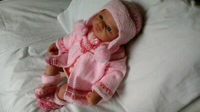 "Hand Knitted Matinee Set for 19""-22"" Reborn or 0-3 months  baby girl"