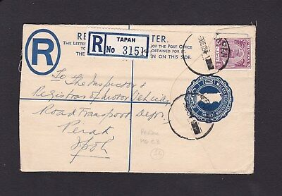 Malaya Perak 1954 Uprated Prepaid Registered Letter Stationery TAPAH to IPOH