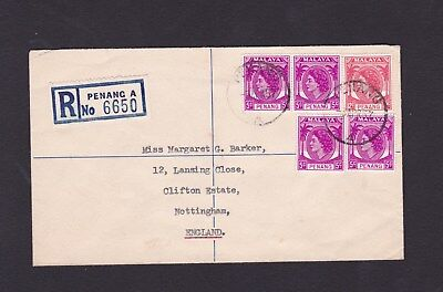 Malaya Penang 1957 Registered Airmail Cover to Nottingham GB Penang A CDS