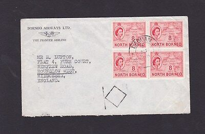 Malaya North Borneo 1958 North Borneo Airways Airmail Cover Labuan to GB