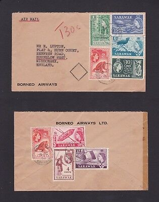 Malaya Sarawak 1958 North Borneo Airways Airmail Cover to GB Topay 30c