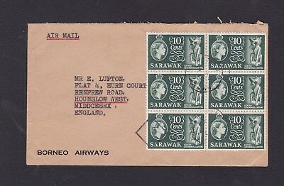 Malaya Sarawak 1958 North Borneo Airways Airmail Cover to GB Rate 60c