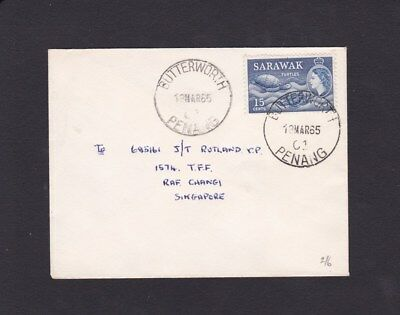 Malaya Penang 1965 Used Cover Butterworth to Singapore with Sarawak 15c Stamp