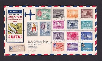 Malaya Singapore 1955 Qantas Definitive 1stDay Cover Full Set to $5 Leaflet Rare