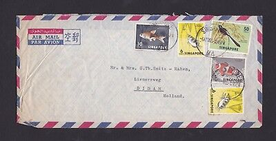 Malaya Singapore 1965 Airmail Cover to Netherlands with 5 Stamps M4 CDS&Contents