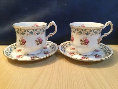 Set of 6 Ridgway Royal Adderley Cups & Saucers Roses Vintage China