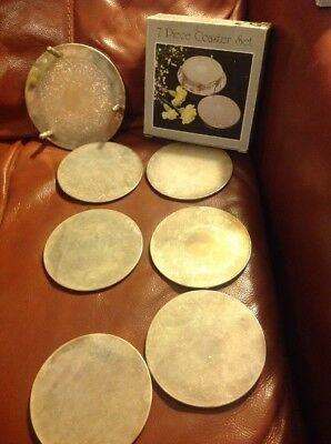 6 X Vintage Silver Plate Cup/Mug Coasters Mats In Original Stand & Box