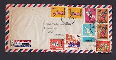 Malaya Singapore 1971 Airmail Cover to Netherlands with 9 Stamps & SG M9 Pmks