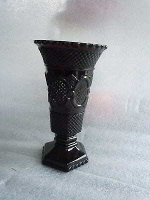 "Avon 1876 Cape Cod Collection FLOWER VASE Ruby Red  Embossed Design 8 "" tall"