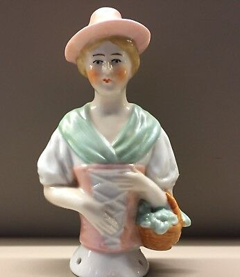 Antique Half Doll Pin Cushion Pink Hat Flower Basket 16273 German