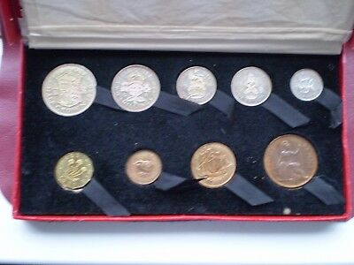 George VI Proof Set in original case 1950 the coins are quite toned (tarnished)