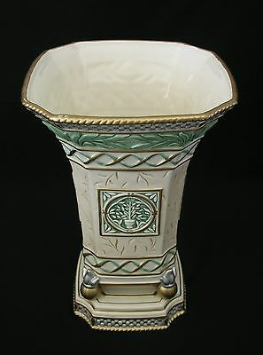 """Fitz And Floyd-Gregorian Collection-12"""" Vase-Embossed Leaves Doves-Flawless Cond"""
