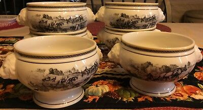 villeroy boch Audun Ferme Set Of 6 Lions Head Soup Bowls Mint