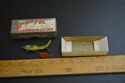 nice old p&k spinning whirl a way lure minnow bait in the box