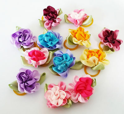 10PCS Cute Rose Dogs Hair Bows W/Rubber Bands Pet Cat Headdress Jewelry Assorted