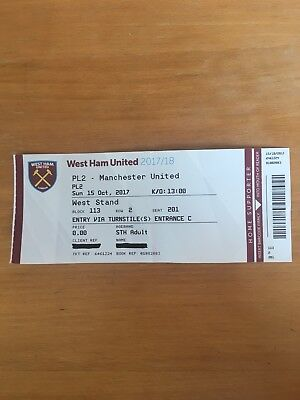 Ticket Stub PL2 West Ham United v Manchester United 15/10/17 at London Stadium