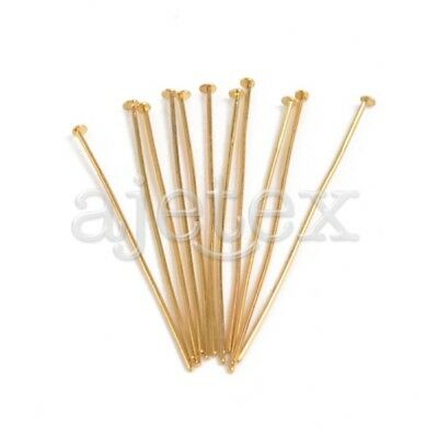 150pcs Gold Plated Head Pins 50x0.8x0.8mm 21 Gauge Jewelry Making Findings