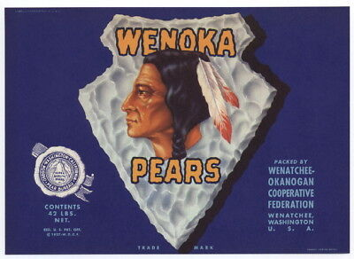 WENOKA Vintage Washington Pear Crate Label, Indian, ***AN ORIGINAL LABEL***