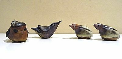Set of 4 Tremar Pottery Baby Bird series. 2 Quail, a Robin and a Nuthatch.