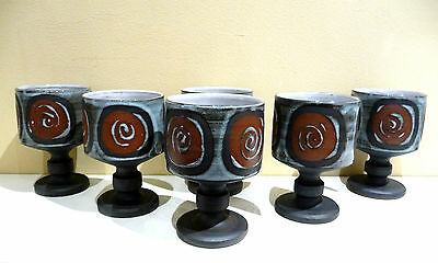 Modernist retro Briglin Pottery set of 6 goblets in Scandi Swirl design
