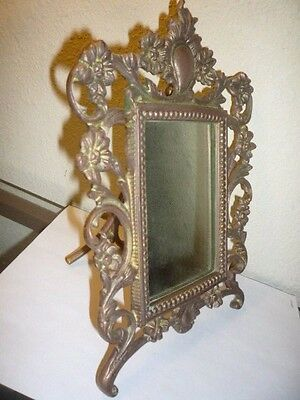 Ornate VICTORIAN Beveled VANITY MIRROR Base Art Nouveau Heavy Brass