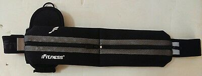iFitness Running Sports Belt 2 Compartments and Bottle Holder Adjustable Black